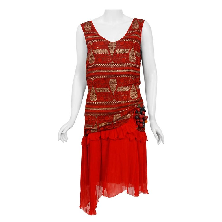 1920's Red & Metallic Gold Print Lamé Asymmetric Pleated Chiffon Flapper Dress For Sale