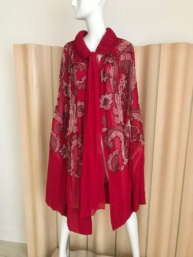 1920S Red Silk Beaded Cape made in France For Sale 7