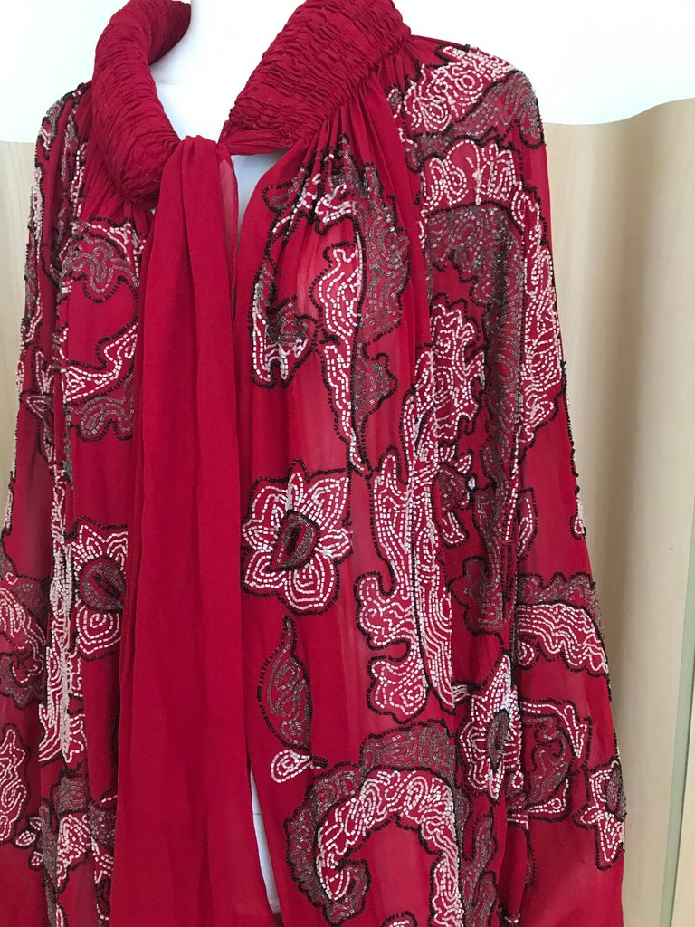 1920S Red Silk Beaded Cape made in France For Sale 8