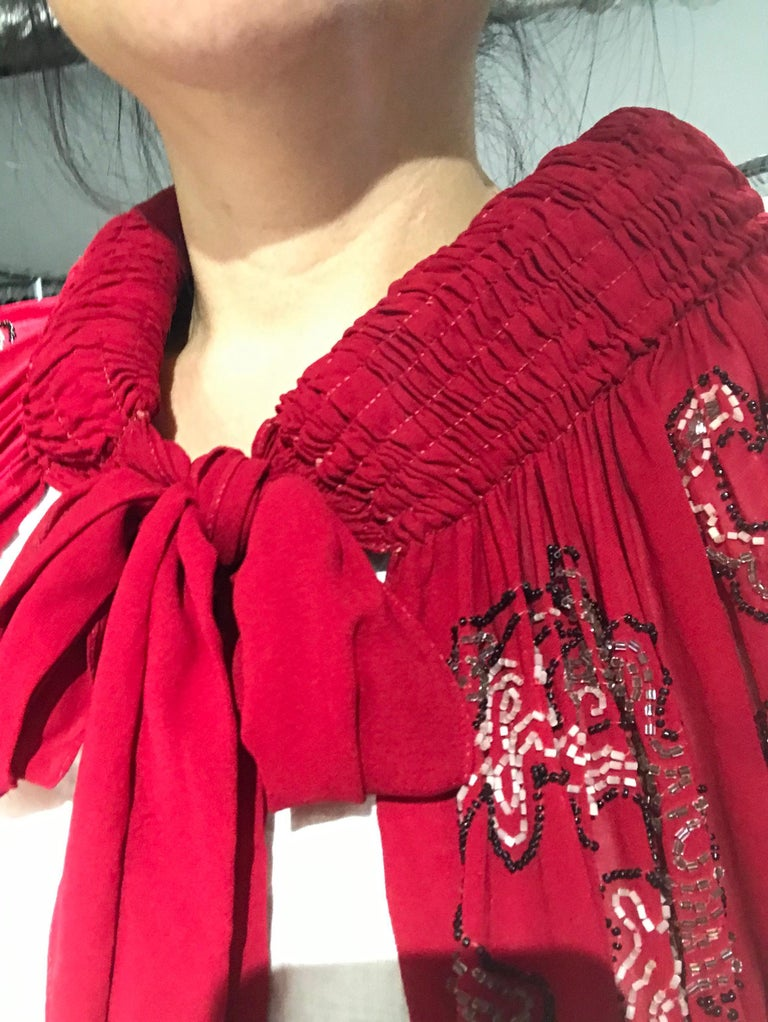 1920S Red Silk Beaded Cape made in France For Sale 9