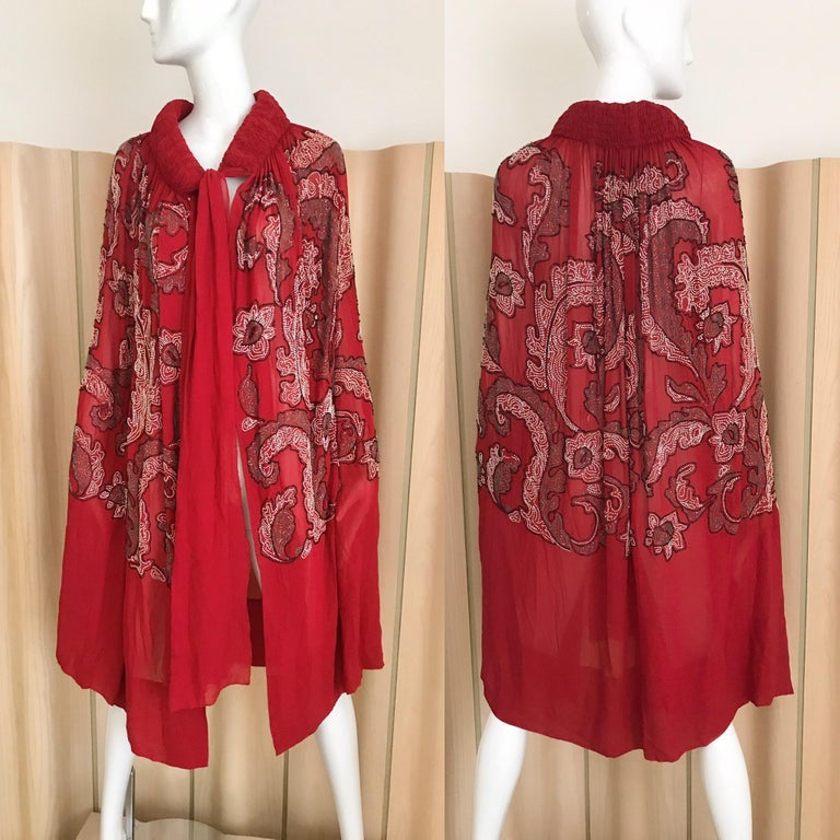 1920s Berry Red Made in France Silk Beaded Cape. Fit all Size