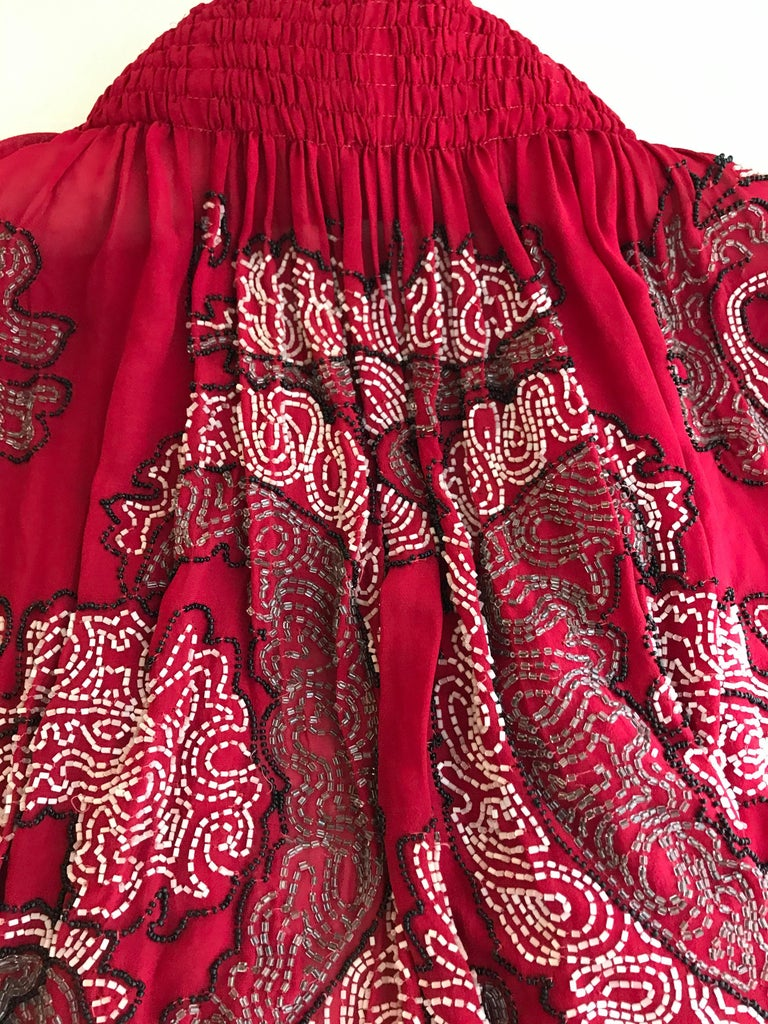 1920S Red Silk Beaded Cape made in France For Sale 3