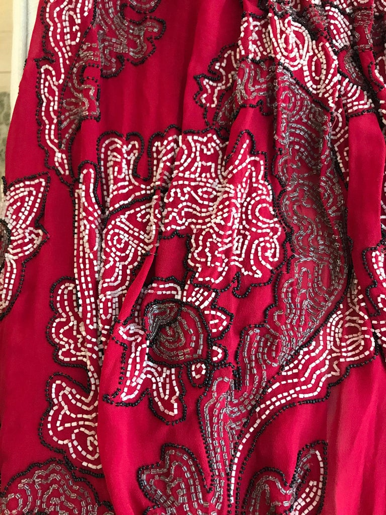 1920S Red Silk Beaded Cape made in France For Sale 4