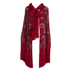 1920S Red Silk Beaded Cape made in France