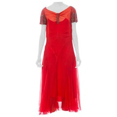 1920S Red Silk Chiffon Silver Beaded  Cocktail Dress With Original Lining