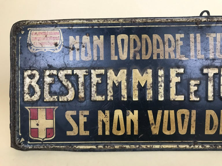 1920s Remarkable Vintage Italian Moral Sign in Tin on a Wooden Board For Sale 7