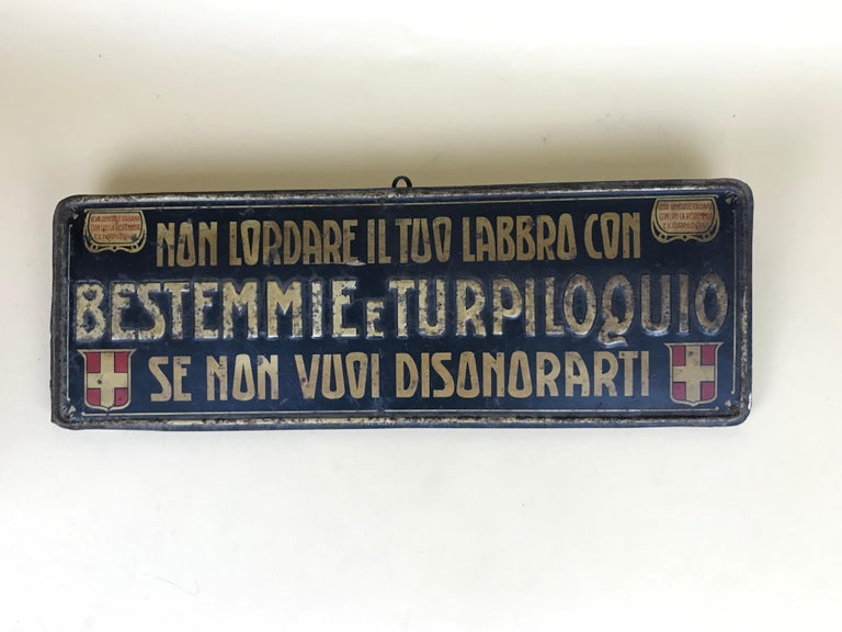 1920s Remarkable Vintage Italian Moral Sign in Tin on a Wooden Board For Sale 8