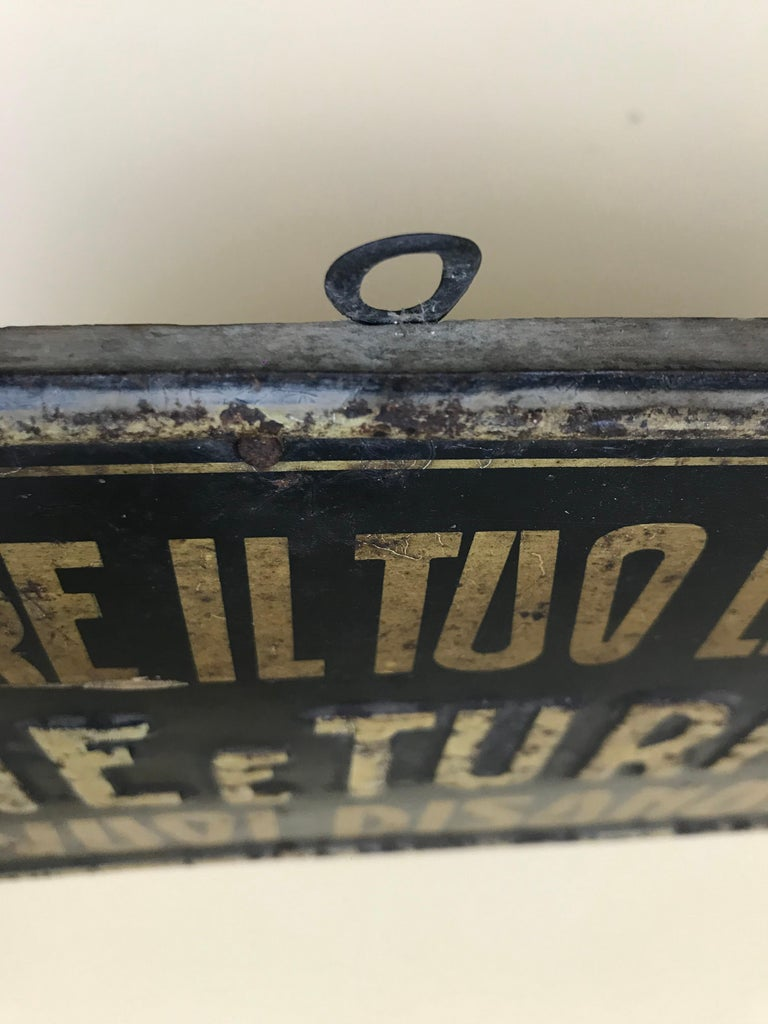 1920s Remarkable Vintage Italian Moral Sign in Tin on a Wooden Board For Sale 9