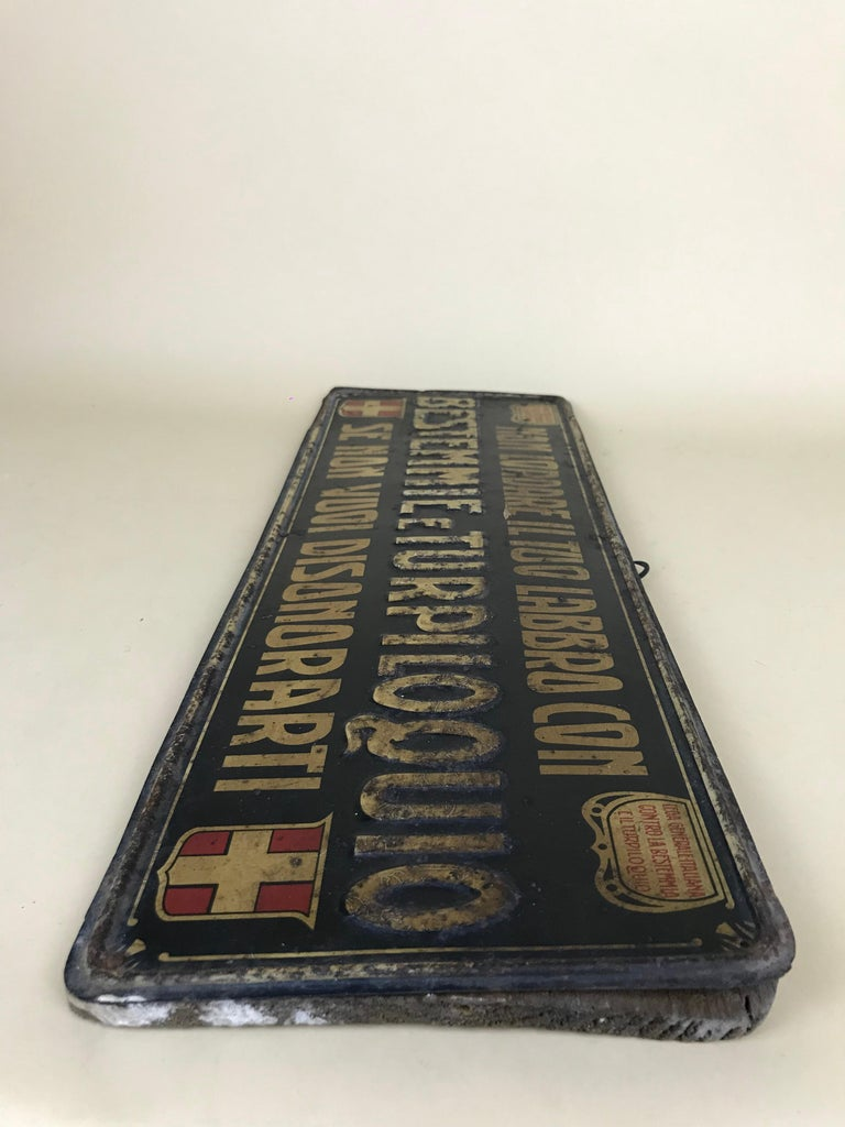 1920s Remarkable Vintage Italian Moral Sign in Tin on a Wooden Board For Sale 10