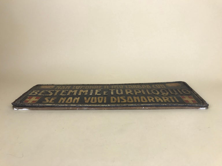 1920s Remarkable Vintage Italian Moral Sign in Tin on a Wooden Board For Sale 12