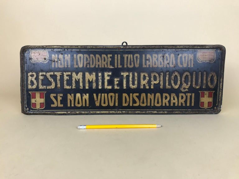 """Vintage and extremely rare tin sign on a wooden support produced in Turin in the circa 1920s by ALBERICI E C for the """"La lega generale italiana contro la bestemmia e il turpiloquio"""" (The Italian general league against blasphemy and foul language)."""