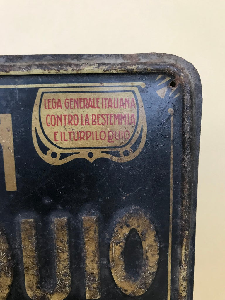 Early 20th Century 1920s Remarkable Vintage Italian Moral Sign in Tin on a Wooden Board For Sale