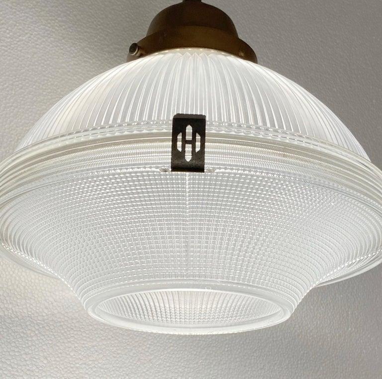 Industrial 1920s Restored Holophane Pendant Light Clear Prism Glass Original Hardware For Sale