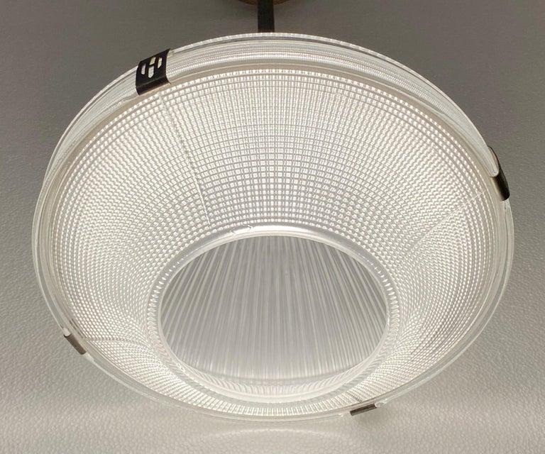 American 1920s Restored Holophane Pendant Light Clear Prism Glass Original Hardware For Sale