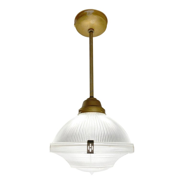 1920s Restored Holophane Pendant Light Clear Prism Glass Original Hardware For Sale