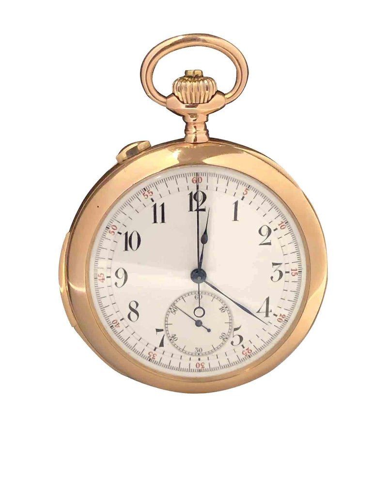 Circa 1920s Split Seconds and Minute Repeater Functions Pocket Watch, 50 M.M. 14K Rose Gold Case, highly jeweled Nickle lever Swiss movement of the quality of Touchon or C. H. Meylan. White Porcelain Dial with sunk sub seconds chapter and outer