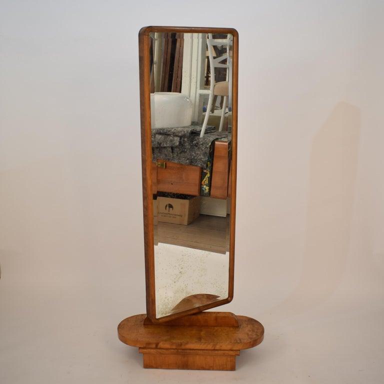 1920s Rotatable Light Brown Birch Art Deco Cheval Dressing Mirror Original Glass For Sale 5