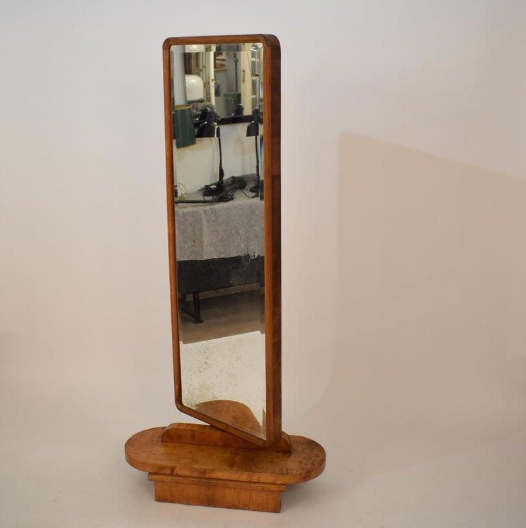 Veneer 1920s Rotatable Light Brown Birch Art Deco Cheval Dressing Mirror Original Glass For Sale