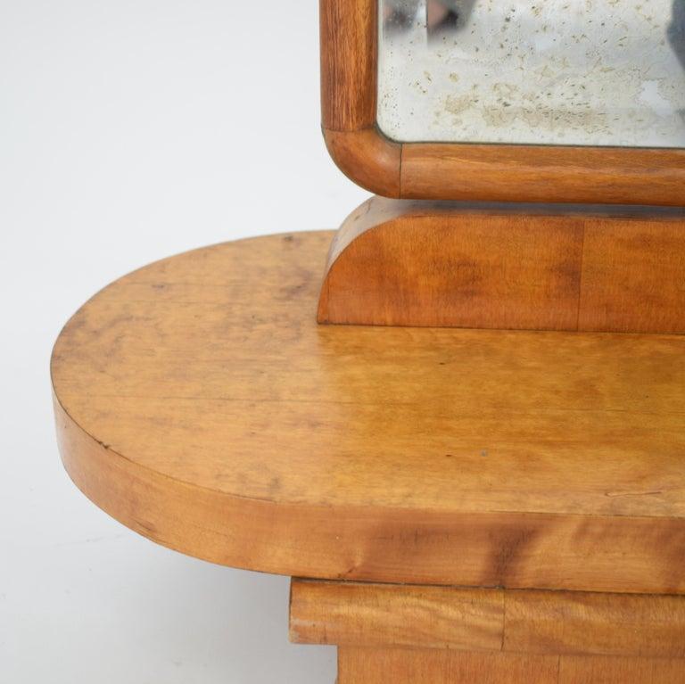 1920s Rotatable Light Brown Birch Art Deco Cheval Dressing Mirror Original Glass For Sale 1