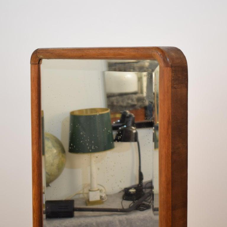 1920s Rotatable Light Brown Birch Art Deco Cheval Dressing Mirror Original Glass For Sale 2