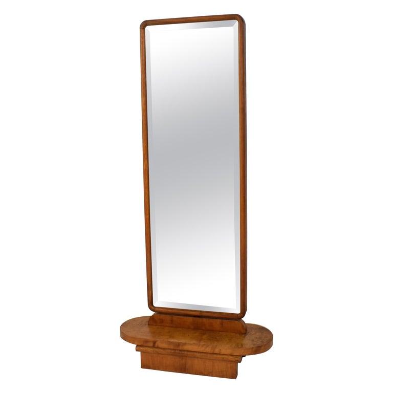 1920s Rotatable Light Brown Birch Art Deco Cheval Dressing Mirror Original Glass For Sale