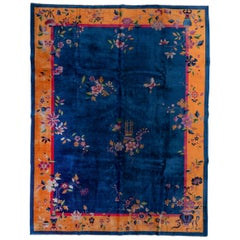 1920s Royal Blue Chinese Art Deco Peking Rug, Gold Borders, Pink Accents