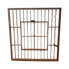 1920s Salvaged Wrought Iron Jail Style Window with Double Door Opening