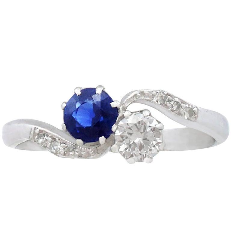 1920s Sapphire and Diamond 18 Karat White Gold Twist Ring