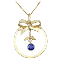 1920s Sapphire and Pearl, Yellow Gold Pendant