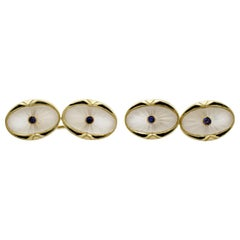1920s Sapphire and Rock Crystal Enamel Yellow Gold Cufflinks