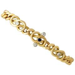 1920s Sapphire Diamond Yellow Gold Curb Bracelet
