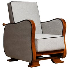 1920s, Scandinavian Art Deco Armchair / Lounge Chair Silver Grey on Walnut 1