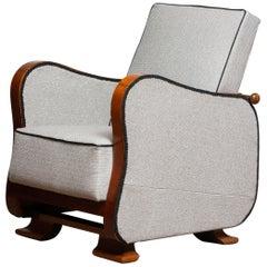 1920s, Scandinavian Art Deco Armchair / Lounge Chair Silver Grey on Walnut