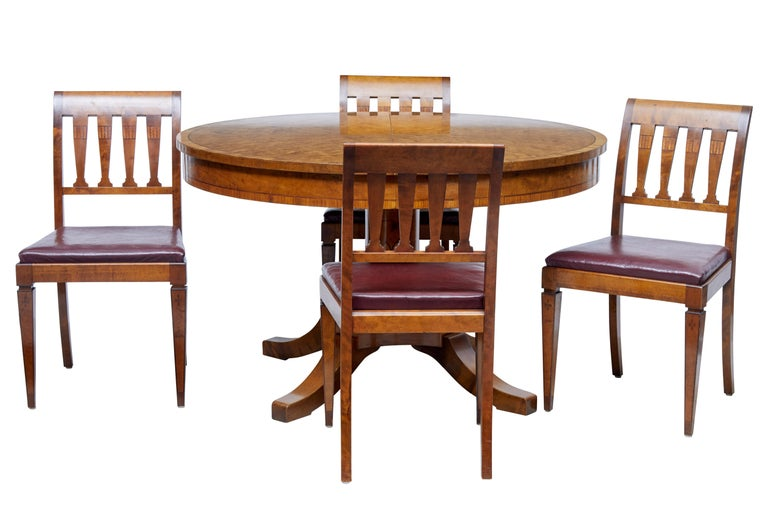 Good Quality Round Dining Table And 4 Matching Chairs Circa 1920 Circular Top Made