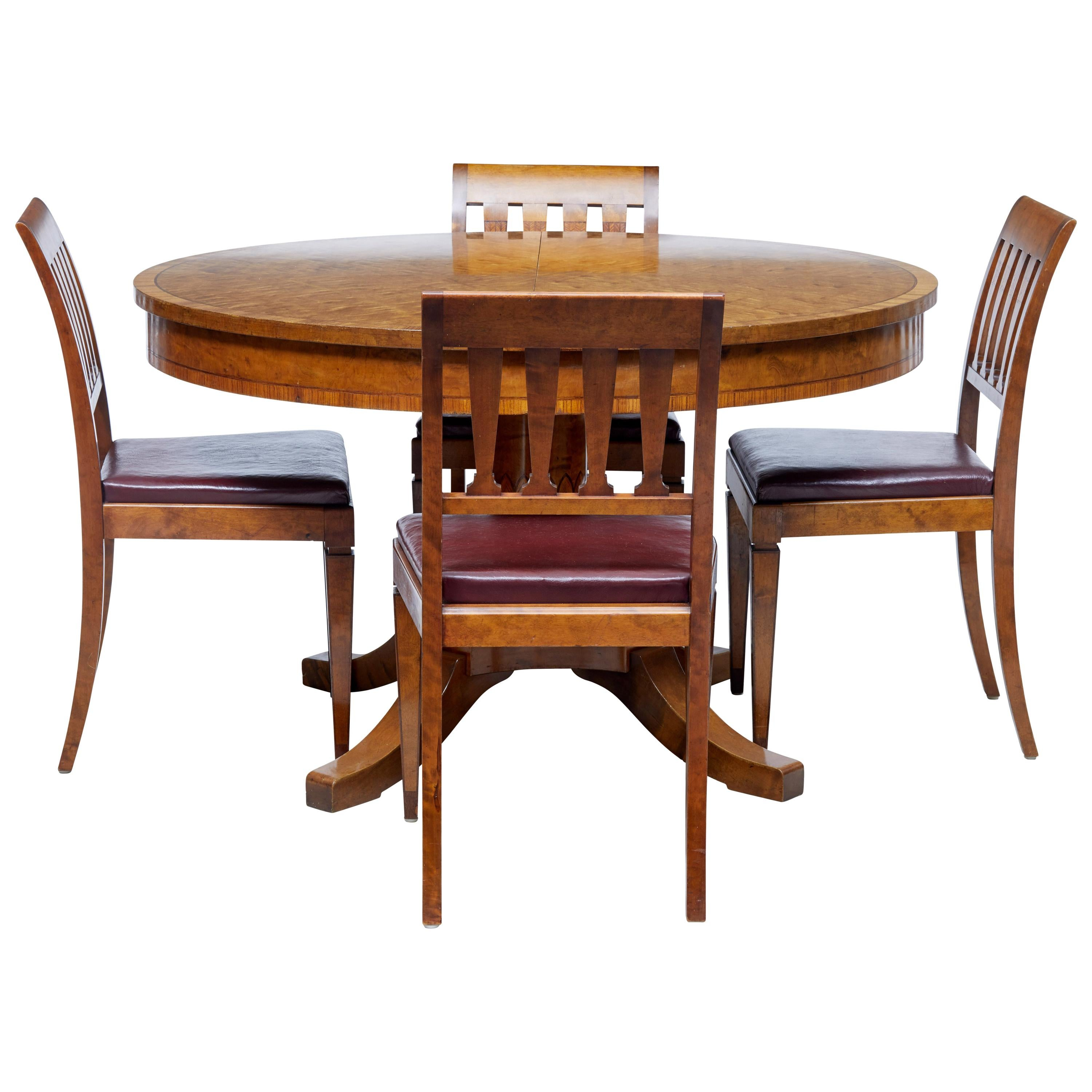 1920s Scandinavian Birch Dining Table And 4 Matching Chairs