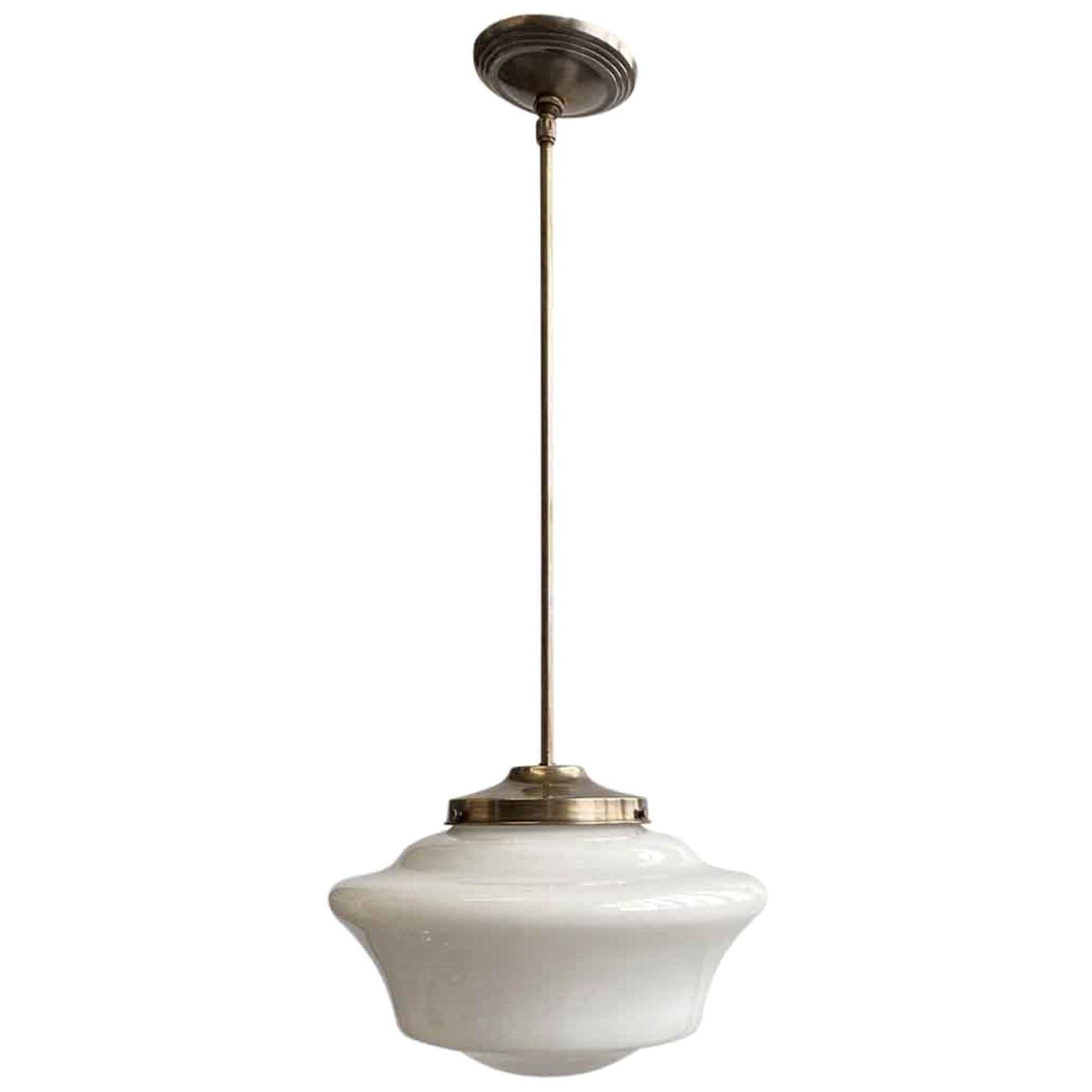 1920s Pendant Light Schoolhouse White Milk Glass Globe with Brass Hardware