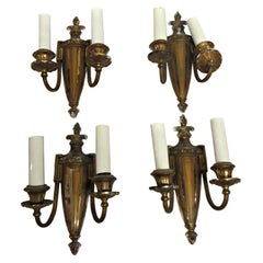1920s Set of 4 Neoclassical Two-Arm Brass Decorative Wall Sconces