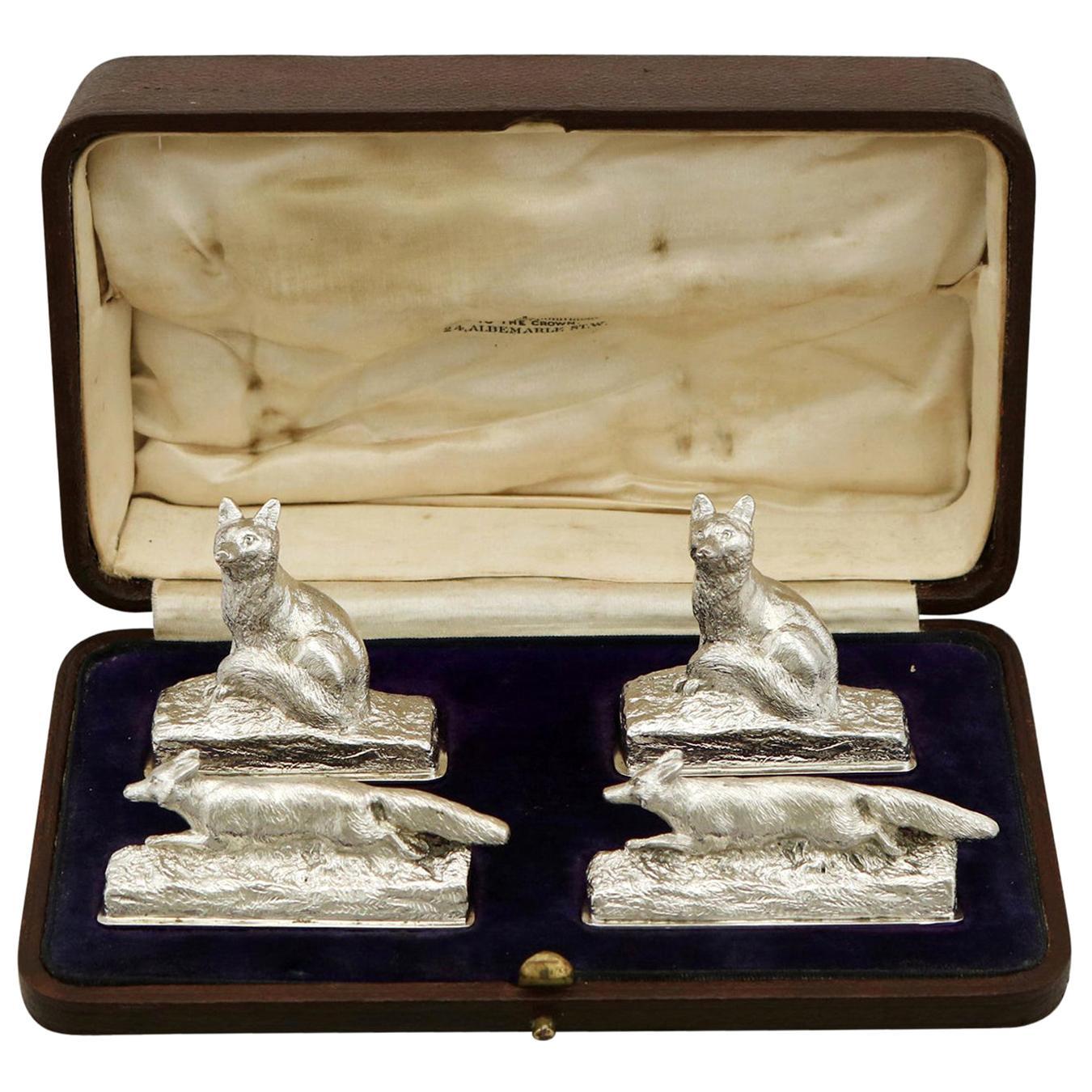 1920s Set of Four Sterling Silver Menu / Card Holders by Garrard & Co Ltd