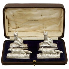 1920s Set of Four Sterling Silver Menu / Card Holders by Garrard & Co Ltd