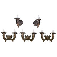 1920s Set of Seven Bronze Sconces, Both Double and Single Arms