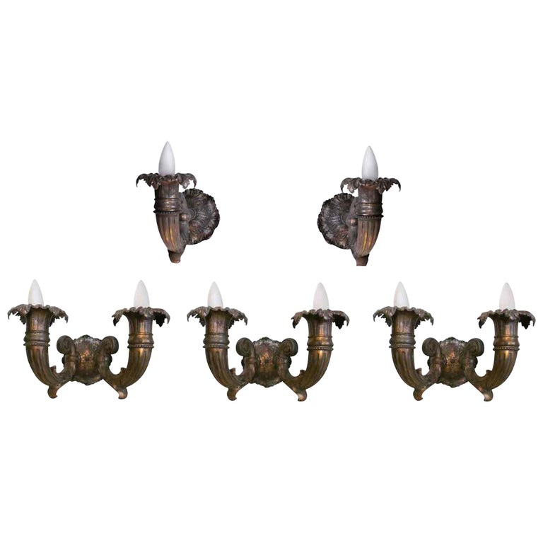 1920s Set of Seven Bronze Sconces, Both Double and Single Arms For Sale
