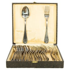1920s Set of Silver-Plated Cutlery in Reptile Leather Box