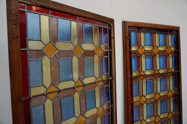 One of Two Multicolored Stained Glass Windows Panels For Sale 4