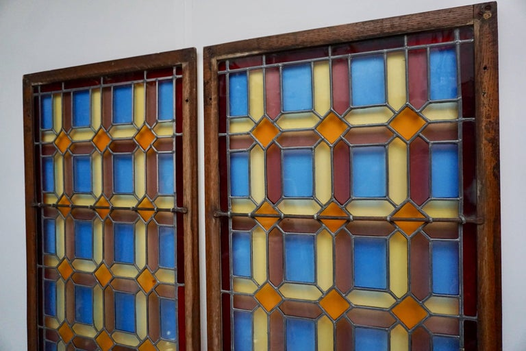 One of Two Multicolored Stained Glass Windows Panels For Sale 5