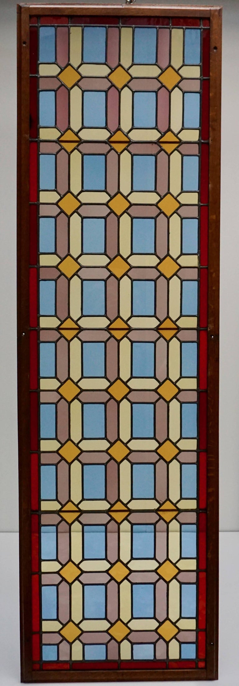 Art Deco One of Two Multicolored Stained Glass Windows Panels For Sale