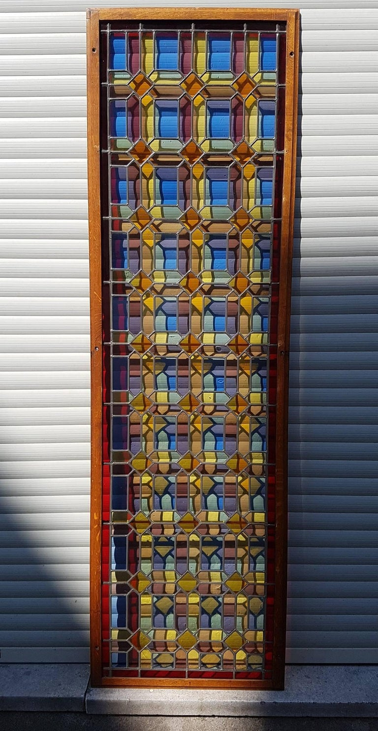 Belgian One of Two Multicolored Stained Glass Windows Panels For Sale