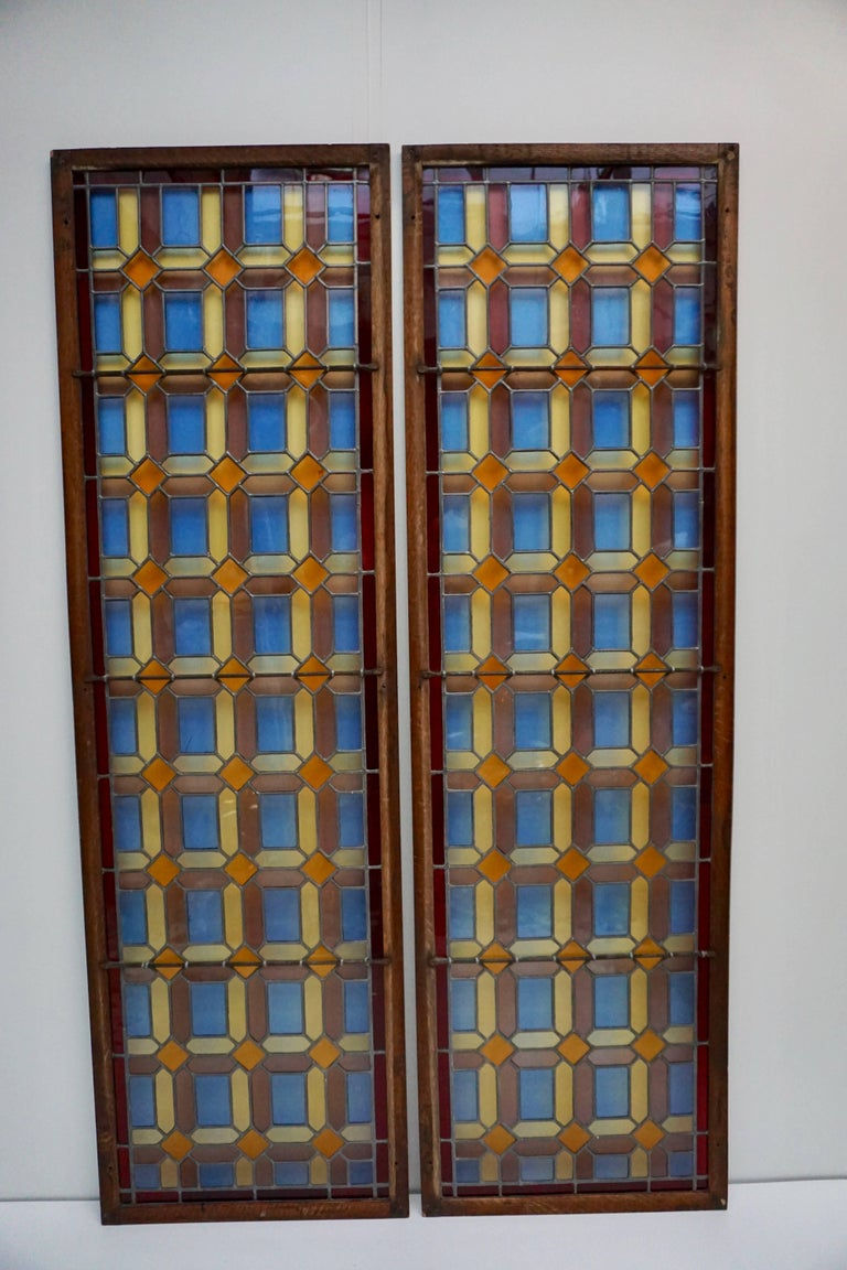 20th Century One of Two Multicolored Stained Glass Windows Panels For Sale