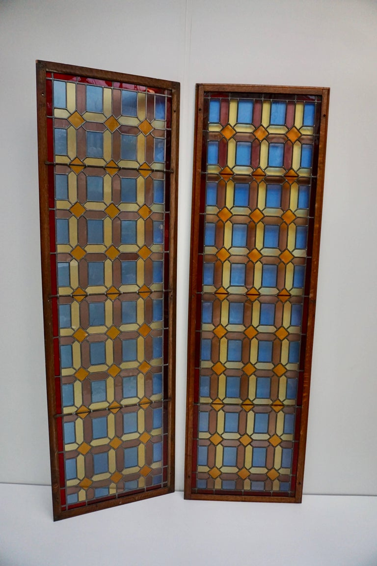 One of Two Multicolored Stained Glass Windows Panels For Sale 1