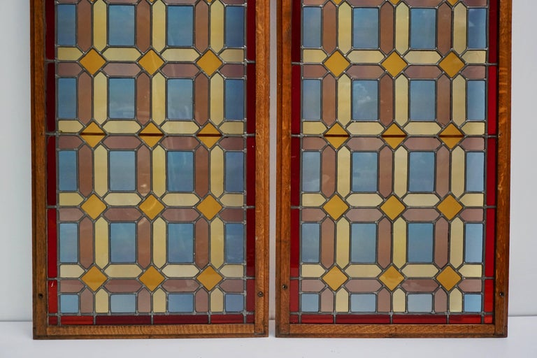 One of Two Multicolored Stained Glass Windows Panels For Sale 2