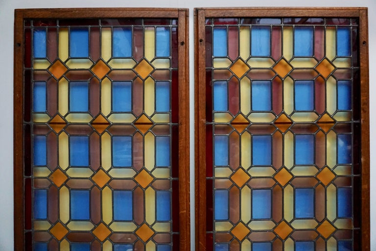 One of Two Multicolored Stained Glass Windows Panels For Sale 3